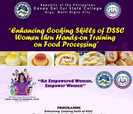 "In celebration of National Women's Month, DSSC will conduct "" Enhancing Cooking Skills of DSSC Women thru Ha"